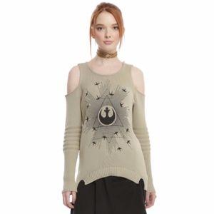 Star Wars Rogue One Rebel Cold Shoulder Sweater M
